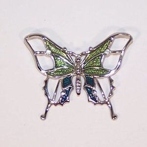 Vintage silver tone and enamel butterfly pin
